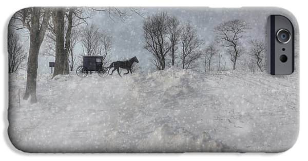 Winter Storm Digital iPhone Cases - Happy Holidays from PA iPhone Case by Lori Deiter