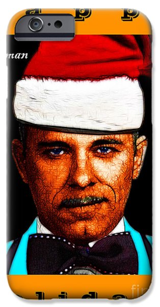 Happy Holidays Gangman Style - John Dillinger 13225 iPhone Case by Wingsdomain Art and Photography