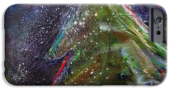 Snowy Night Mixed Media iPhone Cases - Happy Holidays Red and Blue Wishing Stars iPhone Case by Johane Amirault