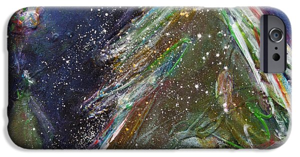 Snowy Night Mixed Media iPhone Cases - Happy Holidays Silver and Red Wishing Stars iPhone Case by Johane Amirault