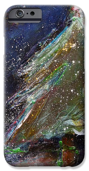Happy Holidays Silver and Red Wishing Stars iPhone Case by Johane Amirault