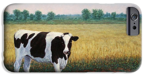 Farm Fields Paintings iPhone Cases - Happy Holstein iPhone Case by James W Johnson