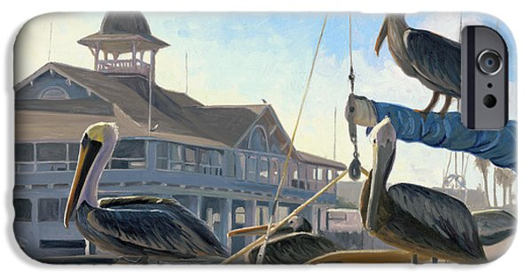 Harbor Paintings iPhone Cases - Happy Hour iPhone Case by Steve Simon