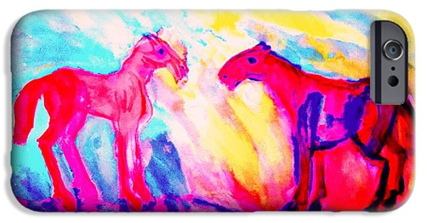 Sweating Paintings iPhone Cases - Happy Hulders Horses  iPhone Case by Hilde Widerberg