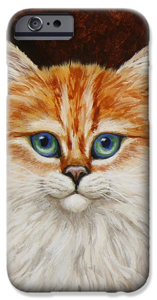 Orange Tabby Paintings iPhone Cases - Happy Kitty iPhone Case by Crista Forest