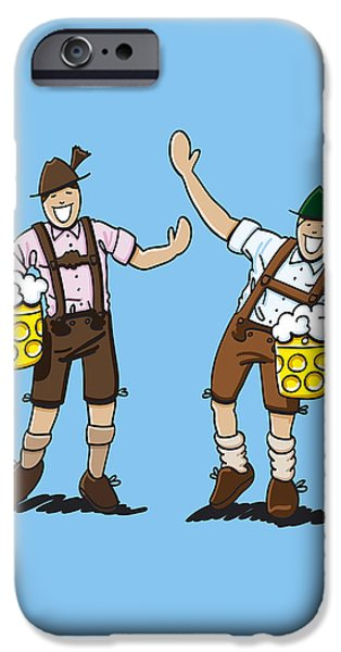 Oktoberfest iPhone Cases - Happy Lederhosen Men With Beer Stein iPhone Case by Frank Ramspott