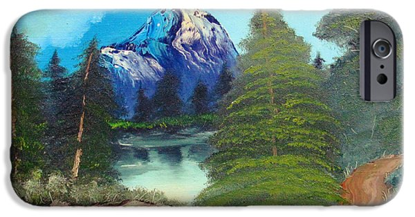 Bob Ross Paintings iPhone Cases - Happy Little Landscape iPhone Case by Ben Pogge