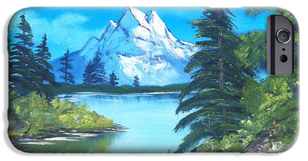 Bob Ross Digital iPhone Cases - Happy Little Trees iPhone Case by Faye Giblin