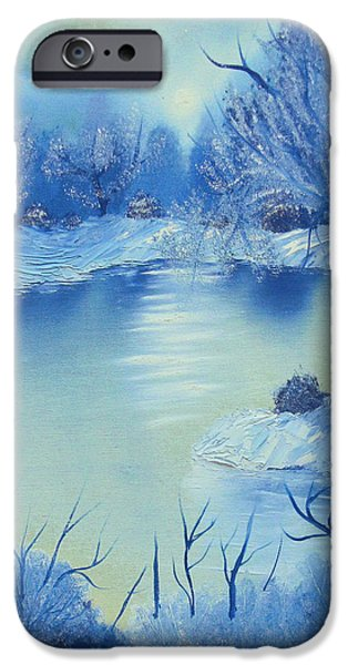 Bob Ross Paintings iPhone Cases - Happy Little Winterscape iPhone Case by Ben Pogge
