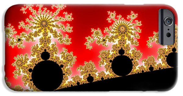 Red Fireworks iPhone Cases - Happy mandelbrots enjoying fractal firework iPhone Case by Matthias Hauser