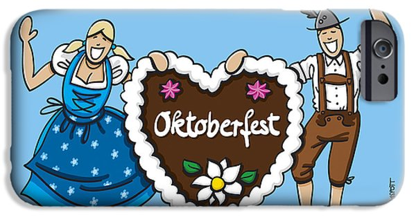 Germany iPhone Cases - Happy Oktoberfest Couple With Gingerbread Heart iPhone Case by Frank Ramspott