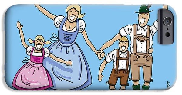Men iPhone Cases - Happy Oktoberfest Family Waving Hands iPhone Case by Frank Ramspott