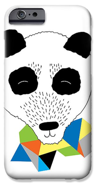 Geometric Animal iPhone Cases - Happy Panda iPhone Case by Susan Claire