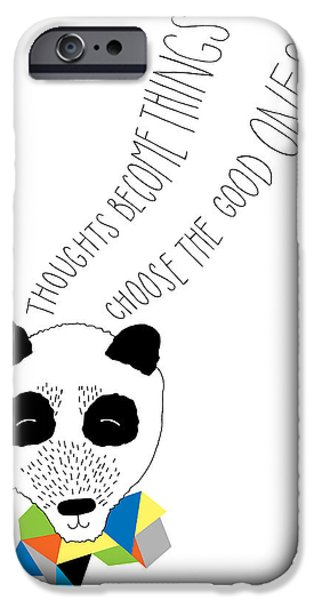 Geometric Animal iPhone Cases - Happy Panda Variant 1 iPhone Case by Susan Claire