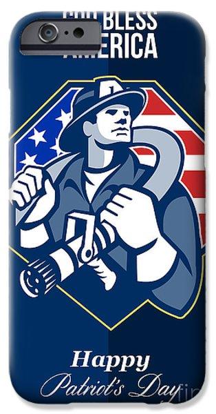 Happy Patriots Day God Bless America Retro iPhone Case by Aloysius Patrimonio