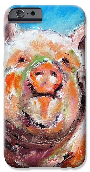 Piglets Paintings iPhone Cases - Happy piglet -ideal painting for kitchen iPhone Case by Mary Cahalan Lee
