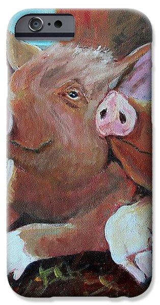 Happy Pigs iPhone Case by Dona Davis