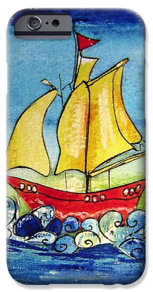 Pirate Ship Mixed Media iPhone Cases - Happy Sailing ship  iPhone Case by Mary Cahalan Lee