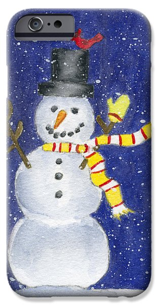 Recently Sold -  - Snowy Night iPhone Cases - Happy Snow iPhone Case by Rhonda Leonard