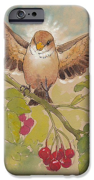 Little iPhone Cases - Happy Sparrow Number Four iPhone Case by Tracie Thompson