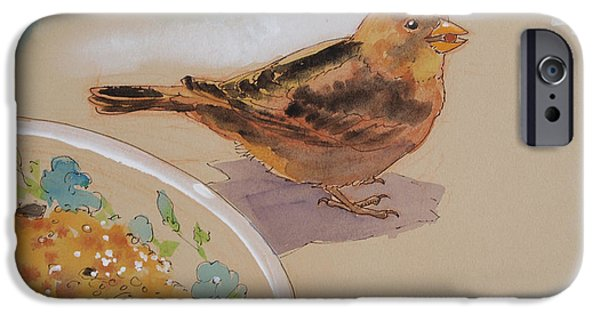 Birds Mixed Media iPhone Cases - Happy Sparrow Two iPhone Case by Tracie Thompson