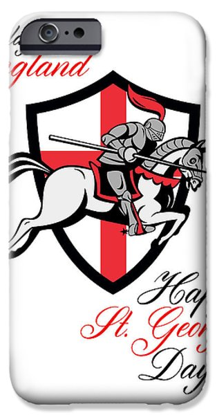 Happy St George Day A Day For England Retro Poster iPhone Case by Aloysius Patrimonio