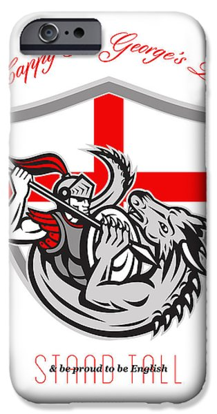 Happy St George Stand Tall Proud to be English Retro Poster iPhone Case by Aloysius Patrimonio