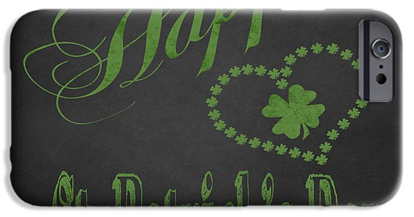 Invitations Paintings iPhone Cases - Happy St Patrick Day digital painting on chalkboard iPhone Case by Georgeta Blanaru