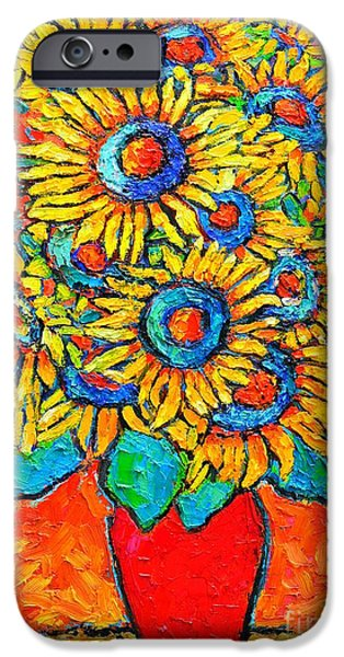 Recently Sold -  - Abstract Expressionist iPhone Cases - Happy Sunflowers iPhone Case by Ana Maria Edulescu
