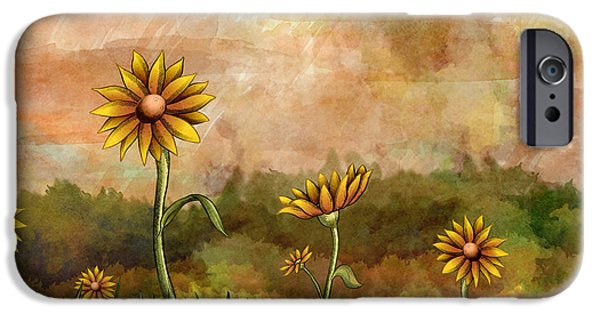 Smiling Mixed Media iPhone Cases - Happy Sunflowers iPhone Case by Bedros Awak