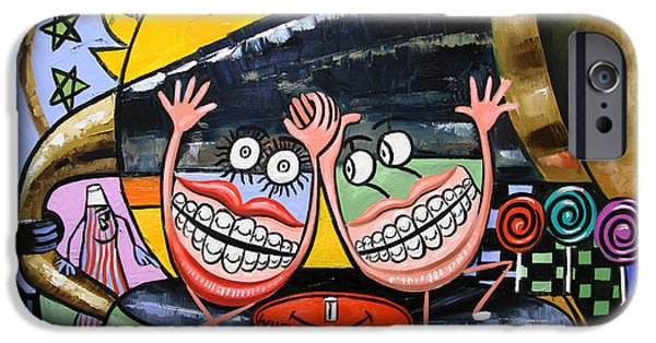 Cubist iPhone Cases - Happy Teeth When Your Smiling iPhone Case by Anthony Falbo