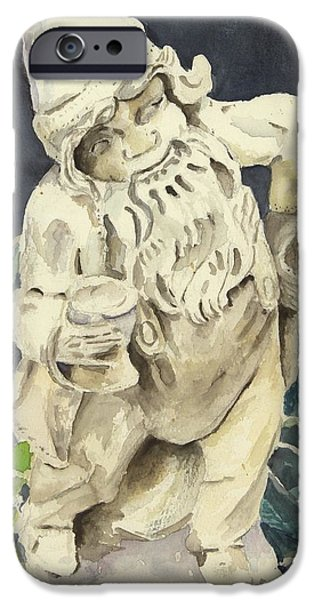 Garden Scene Paintings iPhone Cases - Happy-the Nome iPhone Case by Joan Willoughby