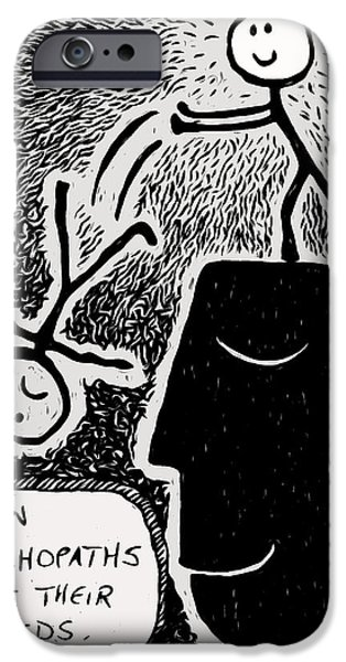 Bipolar Paintings iPhone Cases - Happy Thoughts iPhone Case by e9Art