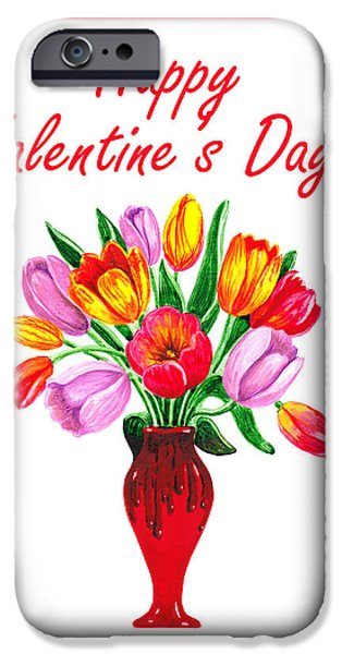 Red Letter Days iPhone Cases - Happy Valentines Tulip Bouquet iPhone Case by Irina Sztukowski