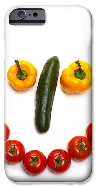Metaphor iPhone Cases - Happy Veggie Face iPhone Case by Olivier Le Queinec