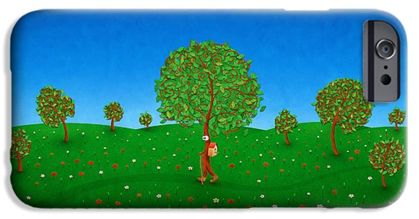 Abstract Digital Digital Art iPhone Cases - Happy Walking Tree iPhone Case by Gianfranco Weiss