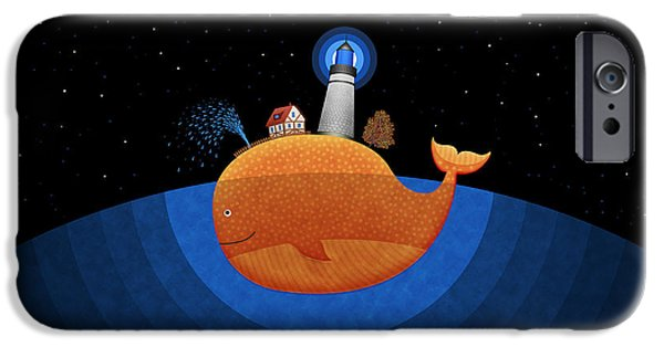 Amazing Digital Art iPhone Cases - Happy Whale House iPhone Case by Gianfranco Weiss