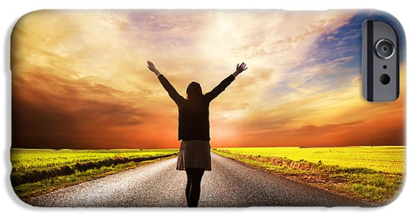 Asphalt iPhone Cases - Happy woman standing on long road at sunset iPhone Case by Michal Bednarek