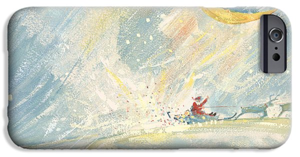 Father Christmas iPhone Cases - Happy Xmas Gouache iPhone Case by David Cooke