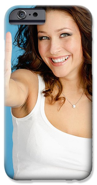 Akimbo iPhone Cases - Happy Young Woman iPhone Case by Anna Bryukhanova