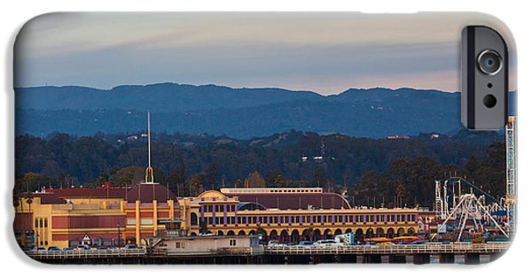 Santa Cruz iPhone Cases - Harbor And Municipal Wharf At Dusk iPhone Case by Panoramic Images