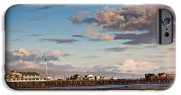 Santa iPhone Cases - Harbor And Stearns Wharf, Santa iPhone Case by Panoramic Images