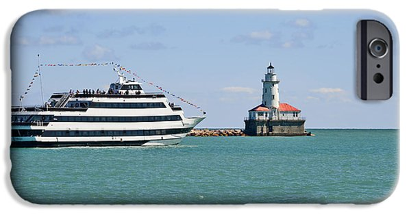 Lightstations iPhone Cases - Harbor Light Chicago iPhone Case by Christine Till
