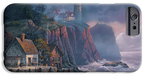Seascape iPhone Cases - Harbor Light Hideaway iPhone Case by Michael Humphries