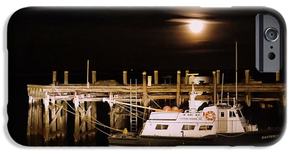 Moonscape iPhone Cases - Harbor moon iPhone Case by Janice Drew
