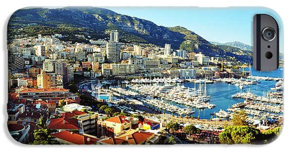 D.c. Pyrography iPhone Cases - Harbor of Monaco iPhone Case by Steffen Schumann