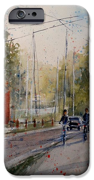 Electrical Paintings iPhone Cases - Harbor Side Ride iPhone Case by Sandra Strohschein