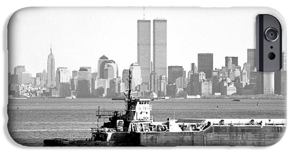 Twin Towers Nyc iPhone Cases - Harbor View 1990s iPhone Case by John Rizzuto