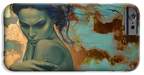 Sadness Paintings iPhone Cases - Harboring Dreams iPhone Case by Dorina  Costras