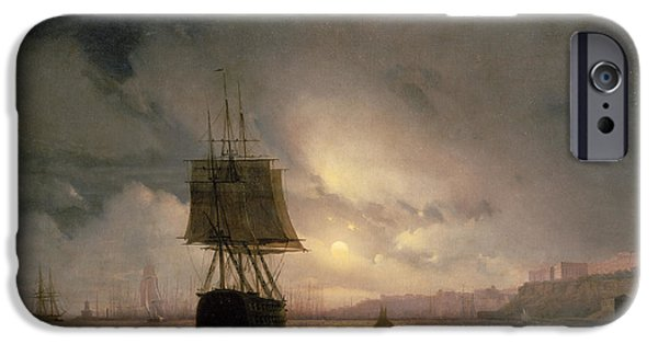 Moonlight iPhone Cases - Harbour At Odessa On The Black Sea, 1852 iPhone Case by Ivan Konstantinovich Aivazovsky